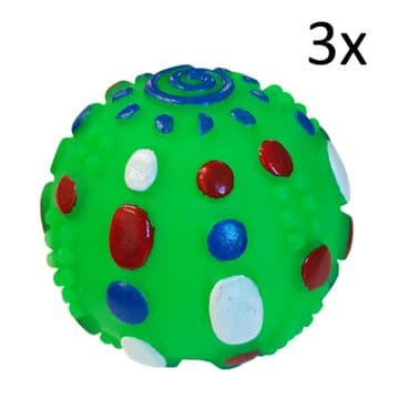 3 x SQUEAKY DOG BALL TOYS pet cat puppy toys training play animal balls toy gree